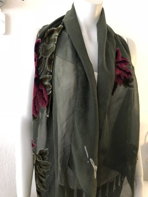 Joop! Silk Scarf bordeaux-dark green silk