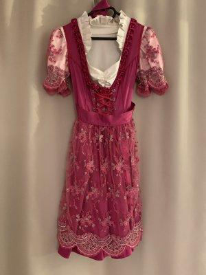 Seide Spitze von Christian Dior & Armani Dirndl Trachten Kleid S Seidenkleid Bluse Seidenbluse Spitzenkleid