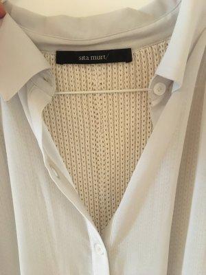 Seide + Strick Kleid mit Unterkleid, hellgrau, Gr. 36