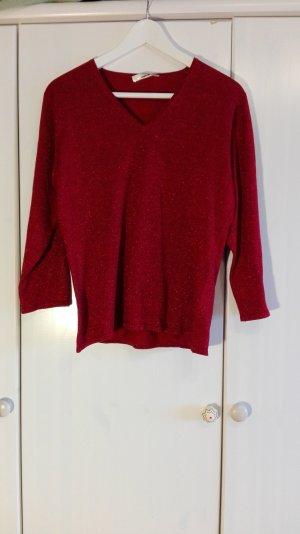 Seide und Glitzer, roter Feinstrickpullover, 38 -Am 30. April schließe ich meinen Kleiderschrank!!!