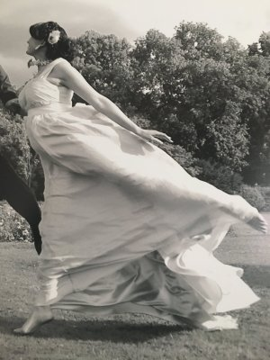 Seiden Abendkleid/Hochzeitskleid