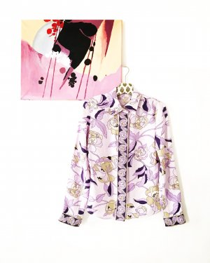 seiden bluse / matt / vintage / flieder / lila / boho / hippie / floral
