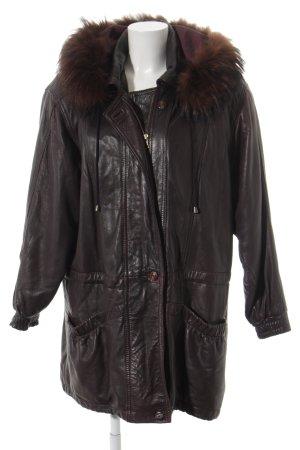 Seiden Leder Manteau en cuir violet foncé style décontracté