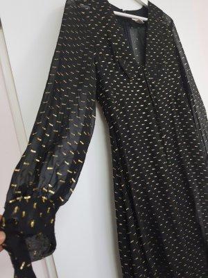 Seiden Maxi Kleid Abi Ball Kleid von H&M Studio Exclusive schwarz mit gold