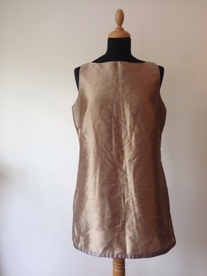 Seiden-Optik Tunika Longtop edel luxus metallic mattglanz Ärmellose Bluse Reißverschluss gefüttert gold