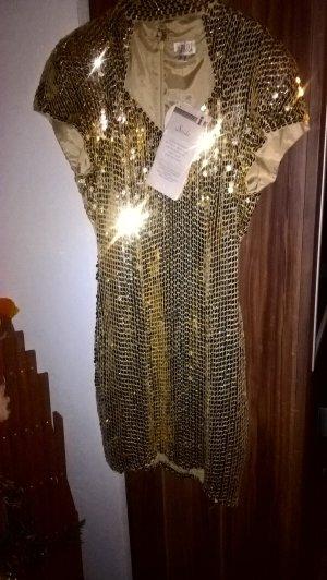 Seiden Paillettenkleid Heine Apart gold Gr. 34 neu mit Etikett
