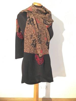 Seiden Schal Japan Style schwarz braun rot