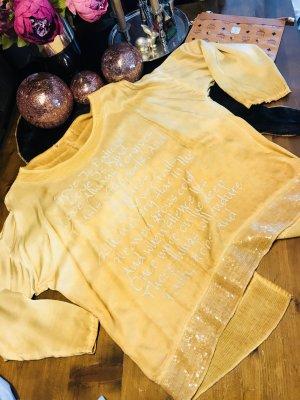 Seiden Tunika gelb Glitzer Größe 42