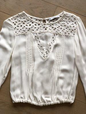Mango Cropped shirt licht beige