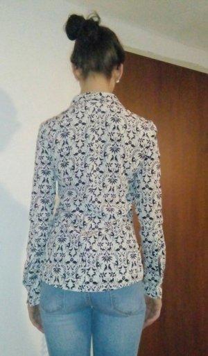 H&M Silk Blouse white-black