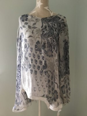 Zijden blouse wit-lichtgrijs