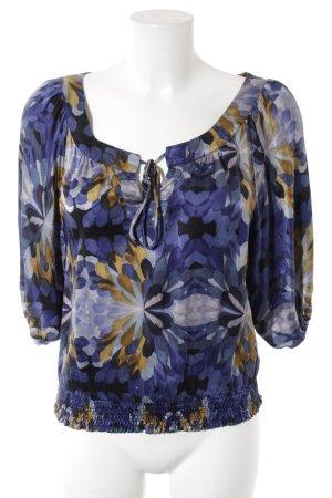 Zijden blouse blauw-donkergeel bloemenprint casual uitstraling