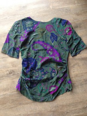 Seidenbluse, Bluse Gr. 36 grün, violette, blau