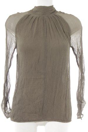 Blusa in seta marrone-grigio stile casual