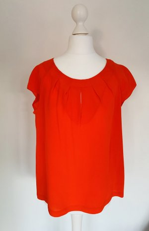 Intrend Blusa de seda naranja neón