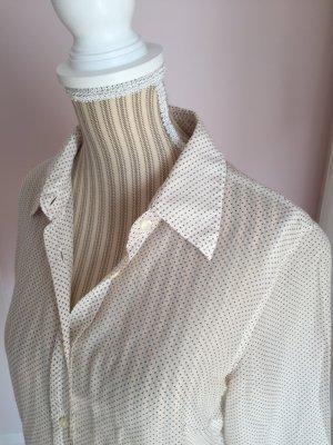 0039 Italy Camicetta a maniche lunghe bianco sporco-marrone-grigio Seta