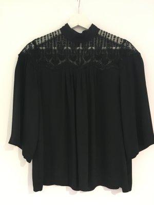 Rosemunde Kanten blouse zwart Zijde