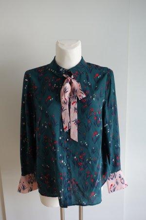 Boden Blusa con lazo verde bosque-rosa claro Seda