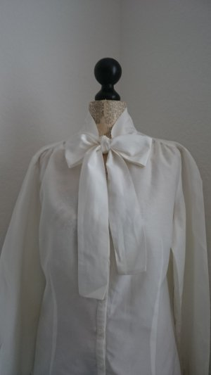 Ashley Brooke Tie-neck Blouse white silk
