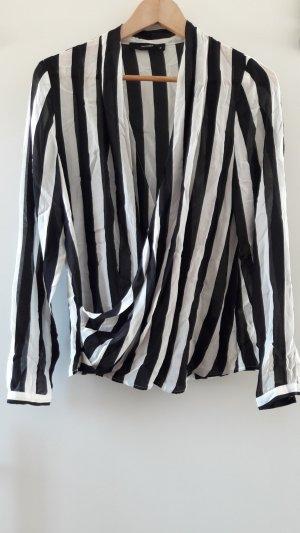 Seidenbluse mit Streifen in schwarz / weiß