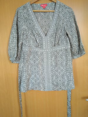 Monsoon Blusa de seda gris claro