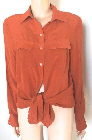 Riani Blusa de manga larga naranja oscuro Seda