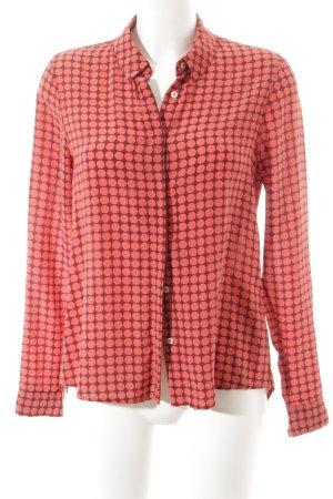 Zijden blouse rood-roodbruin gestippeld patroon straat-mode uitstraling