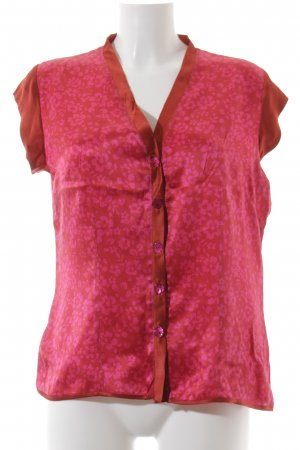 Seidenbluse rot-pink florales Muster Casual-Look
