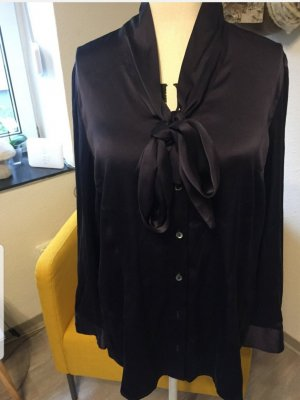 GCfontana Tie-neck Blouse dark blue silk
