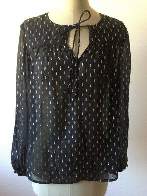 Hallhuber Zijden blouse zwart-zilver