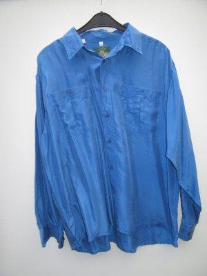 Seidenbluse Vintage Retro Gr. XXL blau oversize