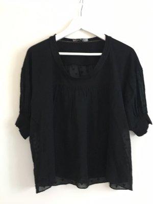 American Retro Blouse met korte mouwen zwart