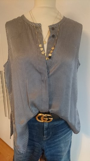 Armani Collezioni Top de seda blanco-negro
