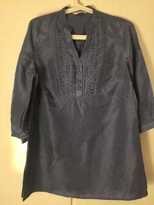Zijden blouse staalblauw Zijde