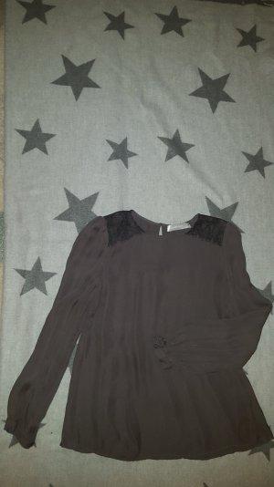 Seidenbluse von Hallhuber Donna in grau/taupe mit Spitzeneinsatz