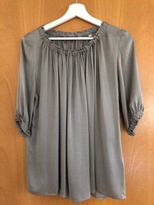Silk Blouse grey brown silk