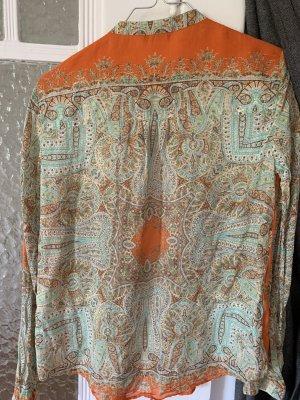 Massimo Dutti Zijden blouse oranje-turkoois
