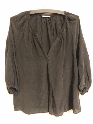 Sack's Zijden blouse antraciet-zwart
