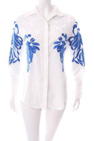 Seidenbluse weiß-blau florales Muster extravaganter Stil