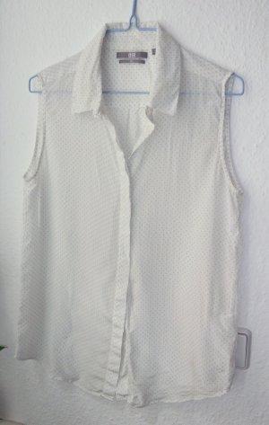 Seidenbluse Weiß Pastell Flieder Gepunktet XS 34 36