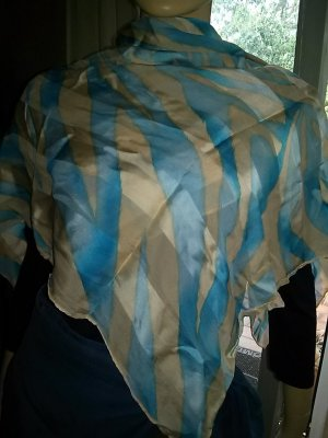 N n.d.c. made by hand Silk Scarf turquoise-apricot silk