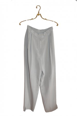Pantalone a vita alta argento-grigio chiaro Seta