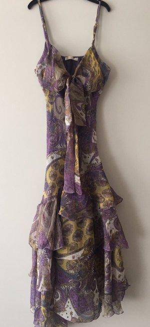 Vestido estilo flounce lila-amarillo