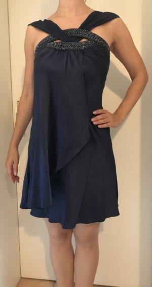 Seidenkleid Cocktailkleid dunkelblau mit Perlen Größe 36