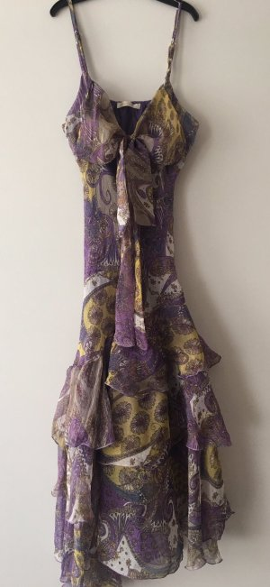 Volante jurk lila-geel