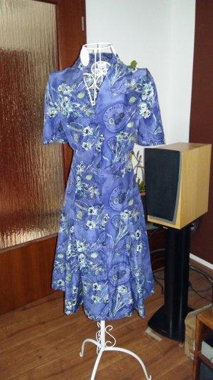 Seidenkleid Gr 38 blau grün gemustert figurbetont Mantelkleid