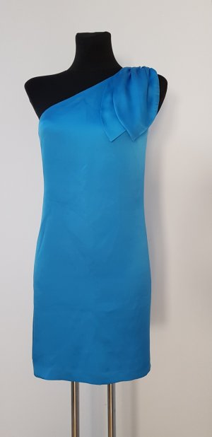 Halston heritage One Shoulder Dress turquoise silk