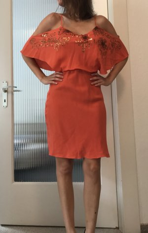 Seidenkleid in warmem Orange