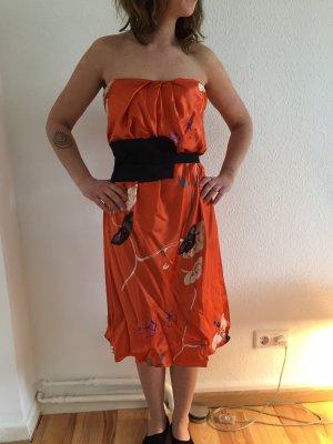 Max Mara Abito bustier arancio neon-nero