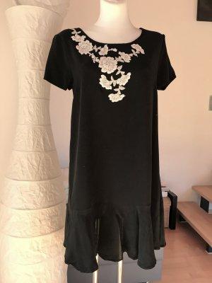 Seidenkleid mit Applikation schwarz weiß Seide Kleid